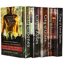 The first five books of The Mortal Instruments by Cassandra Clare. She just came out with book 6 and the books are AMAZING! There is a bit of swearing though and they should be making City of Ashes. Anyway, the first five books (in order) are City of Bones, City of Ashes, City of Glass, City of Fallen Angels, and City of Lost Souls.
