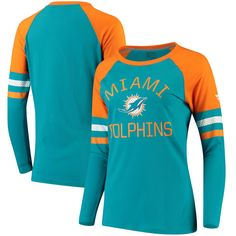 92813ceae Miami Dolphins NFL Pro Line by Fanatics Branded Women s Iconic Long Sleeve T -Shirt - Aqua Orange