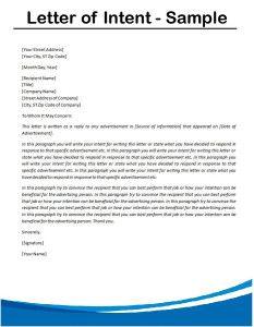 Printable Sample Letter Of Intent Sample Form   Real Estate Forms ...