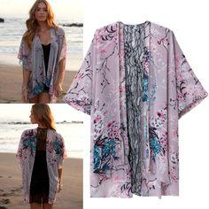 New Women Spitze Tops Mantel Long Sleeve Kimono Sunblock Bluse Cardigan