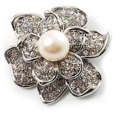 #9: Bridal Faux Pearl Crystal Flower Brooch (Silver-Tone)