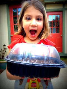 rotisserie chicken container:  perfect mini greenhouse for starting seedlings.