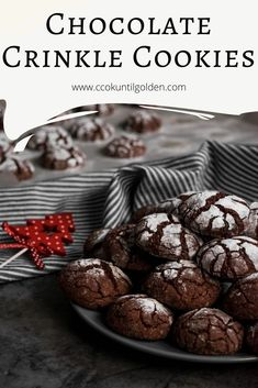 Best Fudgy Chocolate Crinkle Cookies - Cook Until Golden Cookie Desserts, Chocolate Desserts, Fun Desserts, Cookie Recipes, Chocolate Crinkle Cookies, Chocolate Crinkles, Shortbread, Smores Cake, Vintage Cookies