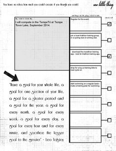 Revisiting For  Printable Goal Setting Sheet With Room For