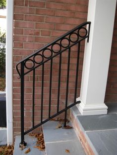 porch railings for steps Railings For Steps, Porch Step Railing, Porch Handrails, Exterior Stair Railing, Outdoor Stair Railing, Wrought Iron Stair Railing, Metal Railings, Porch Steps, Front Steps