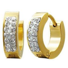 CZ Hoop Golden Stainless Steel Huggie Earrings - Timeless Treasures - Free gift bag with purchase