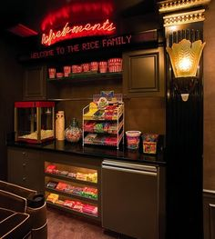 home theatre refreshment stand rather than a basement bar :) I love this!!
