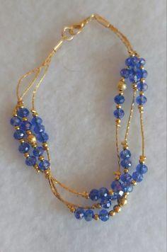 pulsera chapa oro bisuteria fina piedra azul