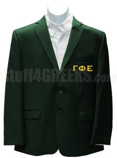 Forest green Gamma Phi Epsilon blazer jacket with the Greek letters on the left breast.