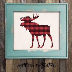 Moose Head Antler Art Print - Woodland Moose Buffalo Plaid Wall Art - Country Rustic Lumberjack Print - Cabin Man Cave Wilderness Home Decor Home Decor Bedroom, Diy Home Decor, Bedroom Wall, Nursery Decor, Wall Decor, Moose Decor, Antler Art, Primitive Bathrooms, Antlers