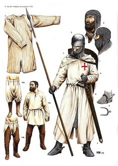 Knights Templar, mysteries, and warfare - these three avenues had an obscured connection during the mercurial times of the medieval Crusades. Armadura Medieval, Knights Hospitaller, Knights Templar, Medieval World, Medieval Fantasy, Costume Français, Crusader Knight, Empire Romain, Medieval Weapons