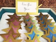 """Gender Reveal Twinkle Twinkle Little Star """"Wear your guess"""" glitter star pins! DIY Tutorial"""