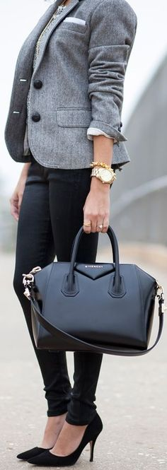 Sleek Fall Outfit. Gray blazer, black trousers, bag. Street autumn women fashion outfit clothing style apparel @roressclothes closet ideas
