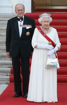 Queen Elizabeth II and Prince Philip, the Duke of Edinburgh, arrive for the state banquet in their honour at Schloss Bellevue palace on the second of the royal couple's four-day visit to Germany on June 24, 2015 in Berlin, Germany.