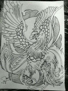 Japanese Phoenix Tattoo, Japanese Tattoo Art, Indian Skull Tattoos, Asian Tattoos, Wing Tattoo Designs, Phoenix Tattoo Design, Tattoo Flash Art, Tatoo Art, Tattoo Sketches