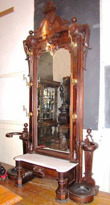 Large Victorian Hall Tree Pier Mirror w/ Bz & Mbl 3831