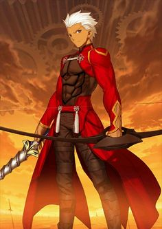 Archer (アーチャー, Āchā) is the Archer-class Servant of Rin Tohsaka in the Fifth Holy Grail War of Fate/stay night. He is one of the Servants of Ritsuka Fujimaru of the Grand Orders conflicts of Fate/Grand Order. Fate Stay Night Archer, Fate Archer, Fate Stay Night Anime, Archer Emiya, Shirou Emiya, Arturia Pendragon, Fate Anime Series, Fate Zero, Fantasy Warrior