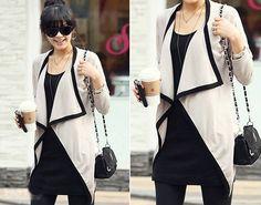 Fashion Women Long Sleeve Irregular Knitted Sweater Hem Lapel Coat Tops
