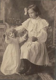 Beautiful Antique Photo of A Little Girl Dancing with Large German Bisque Doll | eBay
