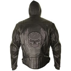 <b>Xelement BXU573 Men's Black Armored Leather Motorcycle Jacket with Skull Embroidery and Hoodie</b><br><br>Made of thick abrasion-resistant cowhide, this Xelement leather motorcycle jacket features eye-catching skull embroidery with reflective material sewn onto the skulls,  a hands free mp3 headphone pocket, a full zipout hooded sweater, and a high-tech CE approved armor system.