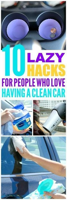 These 10 lazy car cleaning hacks are THE BEST! I'm so glad I found these AWESOME tips! Now I have great ways to keep my car clean and tidy! Definitely pinning!