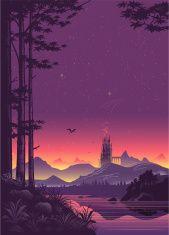 Distant City Landscape at Sunset vector art illustration