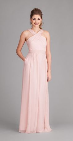 Long chiffon bridesmaid dresses are super chic and elegant. | Kennedy Blue Bridesmaid Dress Stella