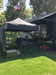 RVing with dogs and keeping them safely enclosed. Travel Trailer Camping, Go Camping, Outdoor Camping, Camping Ideas, Camping Stuff, Camper Life, Rv Life, Camper Van, Camper Hacks