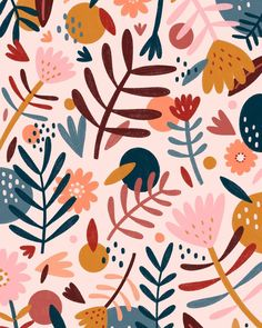 Floral Pattern Illustration - Trend Topic For You 2020 Editorial Illustration, Illustration Blume, Autumn Illustration, Design Floral, Motif Floral, Floral Wall, Surface Pattern Design, Pattern Art, Print Pattern Design