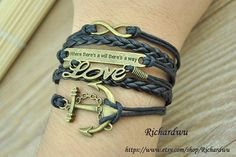 Anchor Love Infinity Moto Bracelet  Man Women Cuff by Richardwu, $6.99