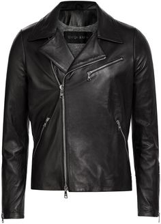 $592, Black Leather Biker Jacket: Giorgio Brato Leather Biker Jacket. Sold by STYLEBOP.com. Click for more info: https://lookastic.com/men/shop_items/290998/redirect