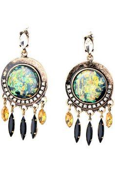 Dezzal - Dezzal Rhinestone Pendant Circular Drop Earrings - AdoreWe.com
