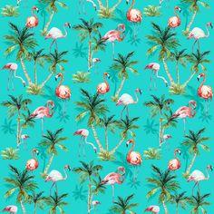 """Väggmotiv - Turkosblå botten med palmer och rosa flamingos """"Flamingos"""" Beställningsvara, 2-3 veckors leveranstid"""