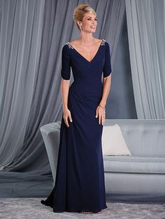 Special Occasion Gown with Elbow Length Sleeves