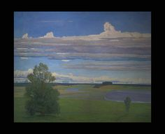 Sidorov, Valentin Mikhailovich  1928 Tver - River Landscape Oil on canvas 152.5 x 187.5cm 1985 - See more at: http://www.russianartdealer.com/galleries/russian-art#sthash.bGromDjW.dpuf