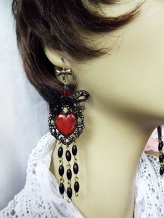Blood Red Heart With Black Lace Filigree Vintage by MockiDesigns, $49.00