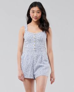 Girls Button-Front Linen-Blend Romper | Girls Dresses & Rompers | HollisterCo.com Hollister, Jumpsuits, Rompers, Dresses, Fashion, Overalls, Vestidos, Moda, Bodysuit Fashion