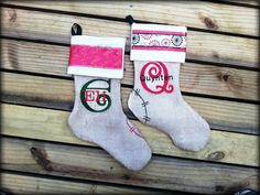 Burlap Stockings includes embroidered name by madebymommie on Etsy