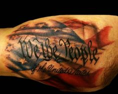 Mike McMahon at All or Nothing Tattoo.  Patriotic....