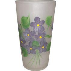Gay Fad Hazel Atlas Satin Glass Hand Painted Violets Tumbler