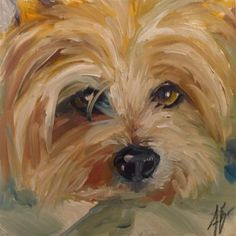 "Daily Paintworks - ""Sweet Yorkie face"" by Annette Balesteri"