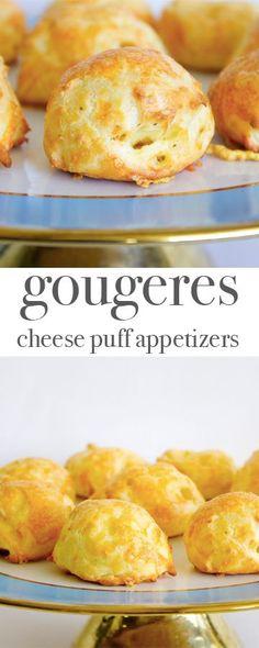 Gougeres - cheese puff appetizers. Recipe via http://MonPetitFour.com