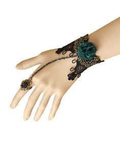 Return favors presented the extravagant beautiful designs in the bracelets. This one is green flower black lace bracelet with the rhinestone ring. It will give the shining appearance to matching wardrobe as the unique fashion accessory. Go for the stunning collection of the Return Favors.