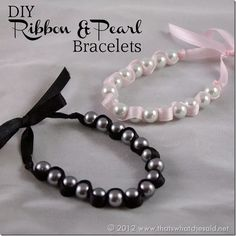DIY Ribbon Pearl Bracelets