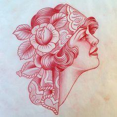Super Ideas tattoo old school girl face Dragon Tattoo Back Piece, Dragon Sleeve Tattoos, Tribal Sleeve Tattoos, Pin Up Tattoos, Head Tattoos, Girl Tattoos, Bodysuit Tattoos, Gypsy Tattoos, Desenho New School