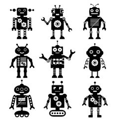 Robot silhouettes set vector 986677 - by lattesmile on VectorStock®