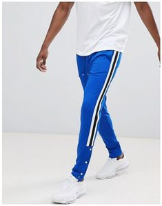Find the best selection of ASOS DESIGN skinny retro track sweatpants in blue with side stripe and popper hem. Shop today with free delivery and returns (Ts&Cs apply) with ASOS! Joggers, Sweatpants, Mens Clothing Styles, Asos, Jeans, Pajama Pants, Skinny, Fashion Outfits, Retro