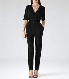 Womens Black Wrap-detail Jumpsuit - Reiss Brooke