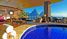 """Jade Mountain: The 28 suites are carved into the hillside; a """"missing"""" fourth wall reveals this spectacular view."""