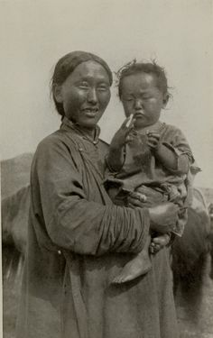 Mongolian woman with child